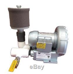 1 HP Gast Pond Aeration Regenerative Blower with filter & valve 115/230 GB41