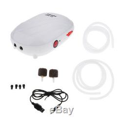 Aquarium Air Pump Oxygen Fountain Pond Aerator Water Fish Tank Double Outlet