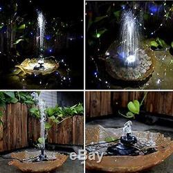 Battery Backup Solar Fountain Pump LED Lighting For Pool Koi Pond Garden Bird 5W