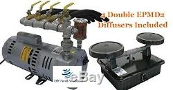EasyPro PA75A Rotary Vane Pond Aeration System 3/4 HP compressor with4 Diffusers