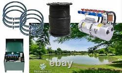 Large Lake Pond Aeration Kit 3+ Acres 1,000' Sink Tube 6-48 Diffuser 1HP 13+CFM
