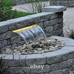 Lighted Spillway Fountain 12 RGB LED Pool Fountain Koi Pond Swimming Pool Aerat