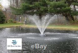 NEW 1 HP Floating Pond Aerating Fountain with 2-Nozzle Patterns 100' cord 115v