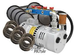 Rotary Vane Pond Aeration System 3/4 HP Kit Quick Sink Tubing & Diffusers- PA75W