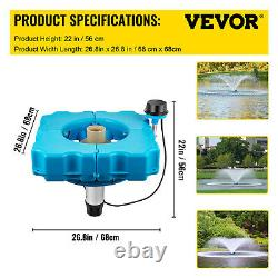 VEVOR Lake Fountains Floating Pond or Lake Fountain 3/4 HP Aerator 100FT Cable