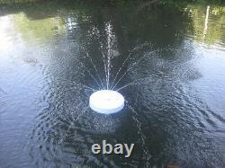 600 Gph Floating Pond Pool Koi Eau Funtain Aérateur & Blanc Lite /2 N0zzles
