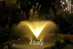 Custom Pro Ft14000 Deluxe Floating Aeration Fountain Withlights, 3 Buses, Remote