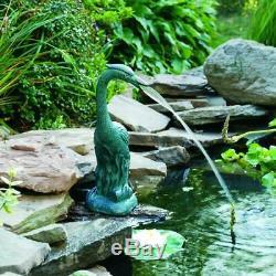 Extérieur Jardin Eau Aérateur Fontaine Vert Résine Oiseau Heron Statue Étang Spitter