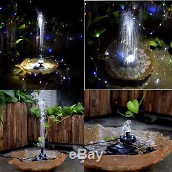 Lewisia Batterie De Secours Solaire Fontaine Pompe Avec Led Pour Piscine Éclairage Koi Étang