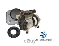 Nouveau Easypro Pa34w 1 / 4hp Rocking Piston Kit Avec Étang Aeration Évier Tube + Diffuseur